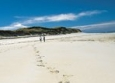 Herm: Foot prints in the sand in Belvoir Bay